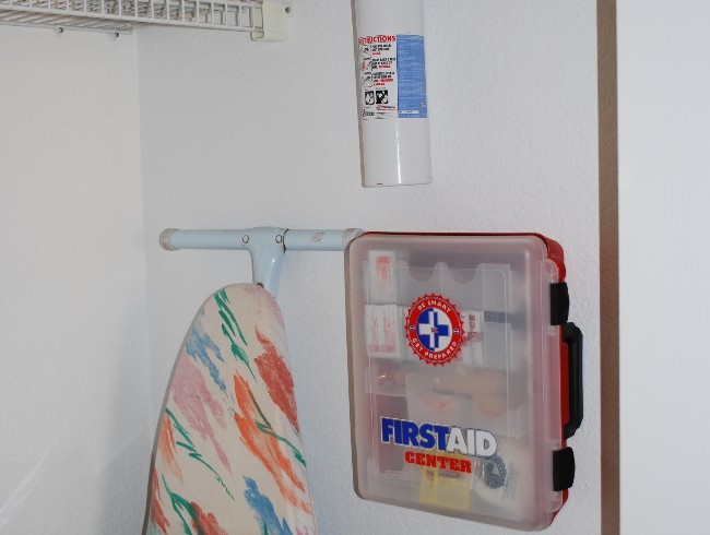 2nd Floor: Laundry Closet - First Aid Kit & Fire Extinguisher